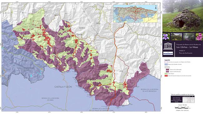 Mapa de zonificación de la Reserva de la Biosfera